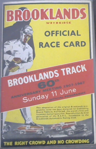 Image for Brooklands Track 60th Anniversary Meeting 1907-1967 Sunday 11 June - Official Programme - Brooklands Weybridge - Official Race Card