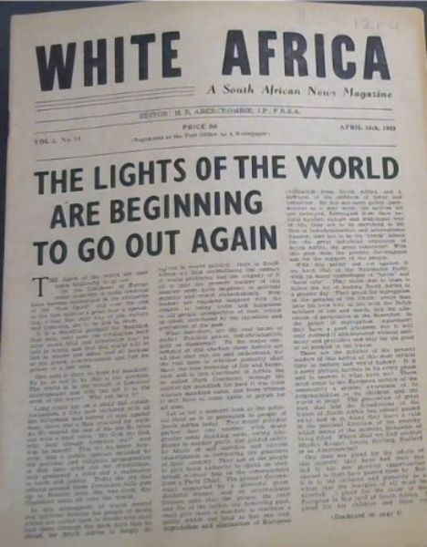 Image for White Africa: A South African News Magazine - Vol 1, No 14, April 16th, 1948