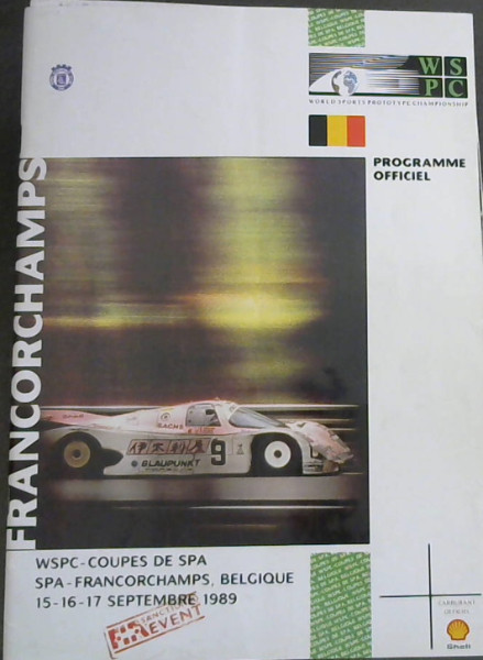 Image for World Sports Prototype Championships - Francorchamps : WSPC - Coupes de Spa - Spa- Francorchamps, Belgique - 15-16-17 Septembre 1989 - Programme Officiel