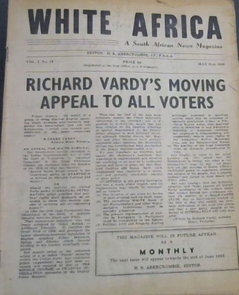 Image for White Africa: A South African News Magazine - Vol 1, No 19, May 21st, 1948