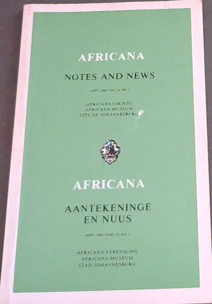 Image for Africana Notes and News / Africana Aantekeninge en Nuus : September 1982. Volume 25 No. 3. Only