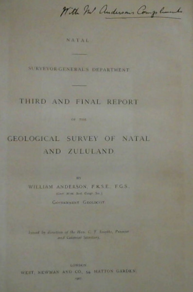 Image for Third and Final Report of the Geological Survey of Natal and Zululand