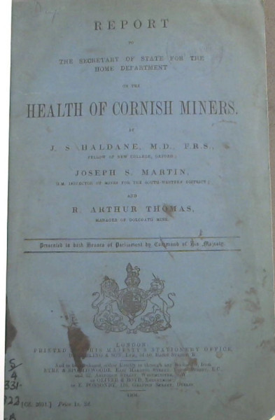 Image for Report to The Secretary of State for the Home Department on the Health of Cornish Miners