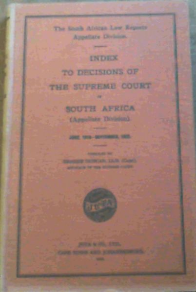 Image for Index To Decisions Of The Supreme Court Of South Africa 1910-1932