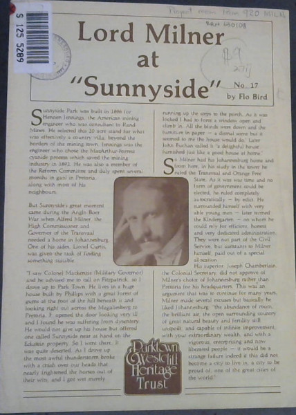 "Image for Lord Milner at ""Sunnyside"""