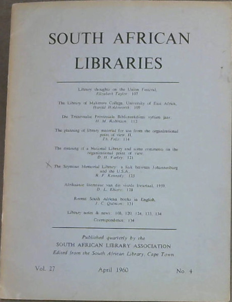 Image for South African Libraries - Vol 27 - No 4 - April 1960 / Suid-Afrikaanse Biblioteke - Deel 27 - No 4 - April 1960