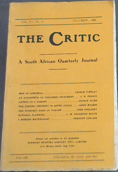 Image for The Critic: A South African Quarterly Journal