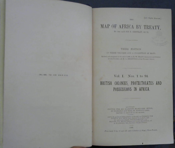 Image for The Map of Africa by Treaty : Vol I Nos 1 to 94 - British Colonies, Protectorates and Possessions in Africa