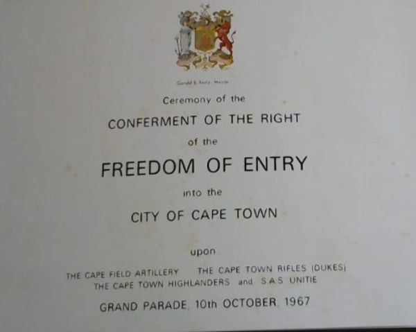 Image for Souvenir Brochure of the Ceremony of The Freedom of Entry to the City of Cape Town granted to the Regiments: The Cape Field Artillery, The Cape Town Rifles (Dukes), The Cape Town Highlanders and SAS Unitie - 10th October, 1967