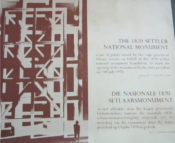 Image for The 1820 Settler National Monument: a set of prints issued by the cape provincial library service on behalf of the 1820 settler national monument foundation, to mark the opening of the monument by the state president on 13th july 1974 / Die Nasionale 1820-Setlaarsmonument: 'n stel afdrukke deur die kaapse provinsiale biblioteekdiens namens die nasionale 1820-setlaarsmonumentstigting uitgereik om die inwyding van die monument deur die staatspresident op 13 julie 1974 te gedenk