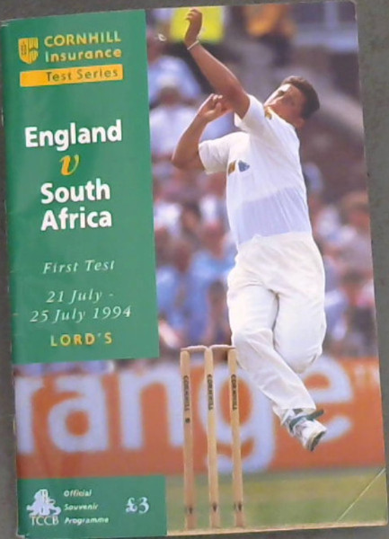 Image for Cornhill Insurance Test Series : England v South Africa - First Test 21 July025 July 1994 Lord's - Official Souvenir Programme