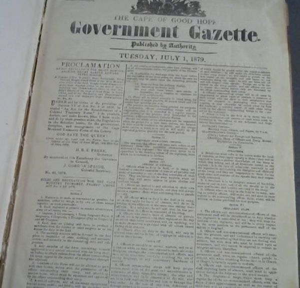 Image for The Cape of Good Hope Government Gazette: Tuesday, July 1, 1879, No 5927 - Tuesday, December 30, 1879, No. 5980