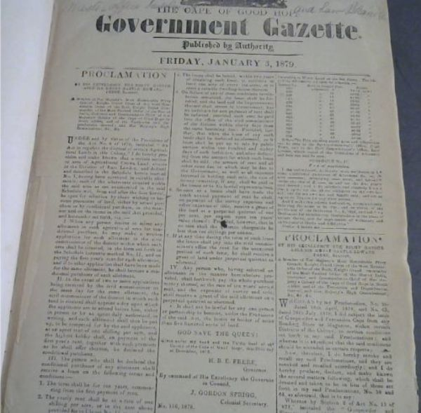 Image for The Cape of Good Hope Government Gazette: Friday, January 3, 1879 No 5871 - Friday, June 27, 1879, No 5926
