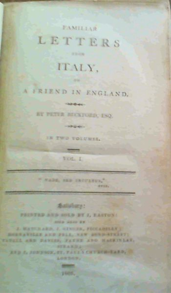 Image for Familiar Letters from Italy, to a Friend in England Vol 1