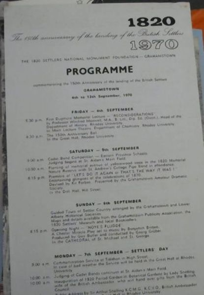 Image for The 150th anniversary of the landing of the British Settlers 1820-1970: a collection of programmes and brochures