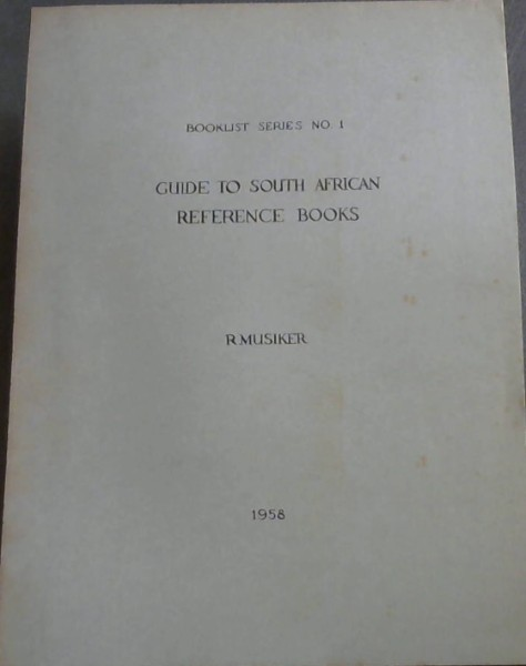 Image for Guide to South African Reference Books:  Booklist Series No .1.