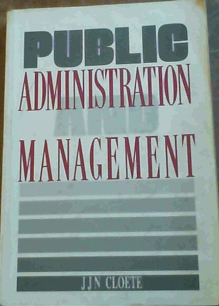 Image for Public Administration and Management