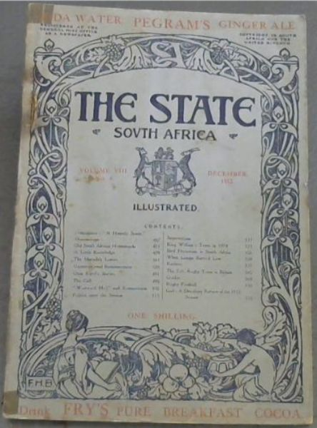 Image for The State - South Africa - A South African National Magazine: Vol VIII, No 6 - December 1912
