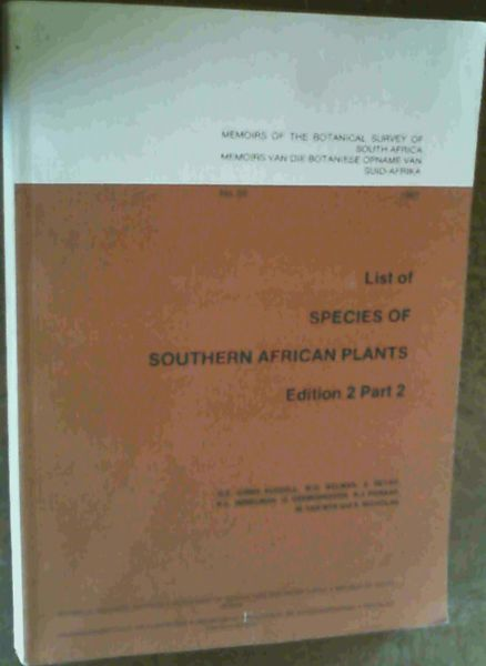 Image for List of Species of Southern African Plants: Recent Literature and Synonyms