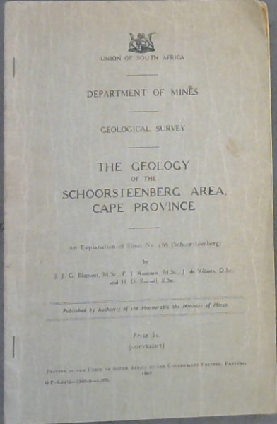 Image for The Geology of the Schoorsteenberg Area, Cape Province - An Explanation of Sheet No. 166 (Schoorsteenberg)
