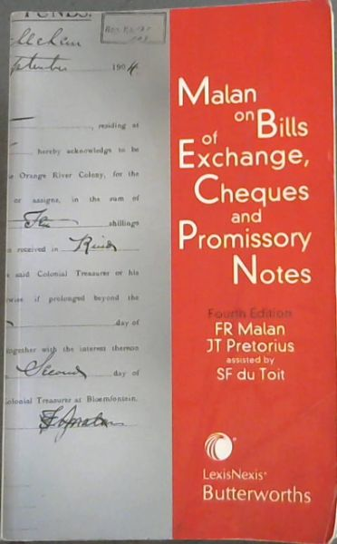 Image for Malan on Bills of Exchange, Cheques and Promissory Notes