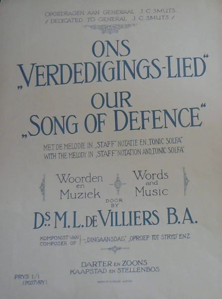 "Image for ONS ""VERDEDIGINGS - LIED"" / OUR ""SONG OF DEFENCE"""