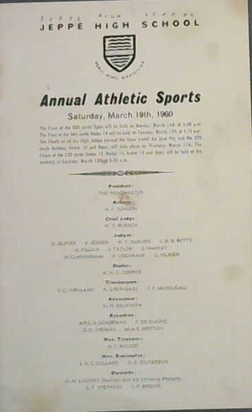 Image for JEPPE HIGH SCHOOL - Annual Athletic Sports - Saturday, March 19th, 1960