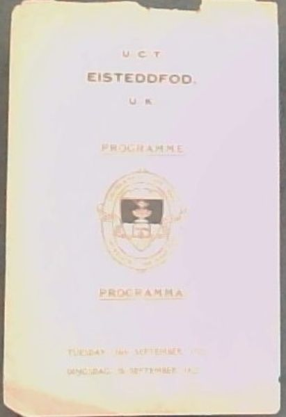 Image for PROGRAMME - PROGRAMMA:  EISTEDDFOD -   TUESDAY, 26th SEPTEMBER 1922, DINGSDAG, 26 SEPTEMBER 1922.