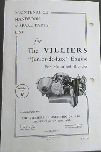 "Image for MAINTENANCE HANDBOOK & SPARE PARTS LIST for The VILLIERS ""Junior-de-luxe"" Engine For Motorised Bicycles"