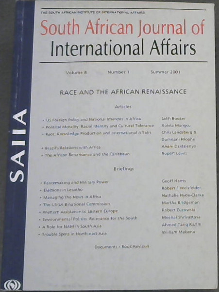 Image for South African Journal of International Affairs Volume 8 , Number 1, Summer 2001 ( Race and The African Renaissance)