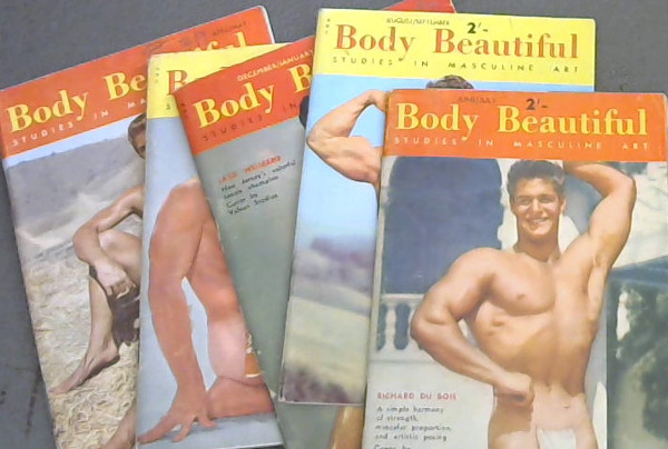 Image for Body Beautiful: Studies in Masculine Art - June/ July 1955 (vol 1, no 2), August/ September 1955 (vol 1, no 3), December/ January 1955/6 (vol 1, no 5), February / March 1956 (vol 1, no 6), April / May 1956 (vol. 2 no 1)