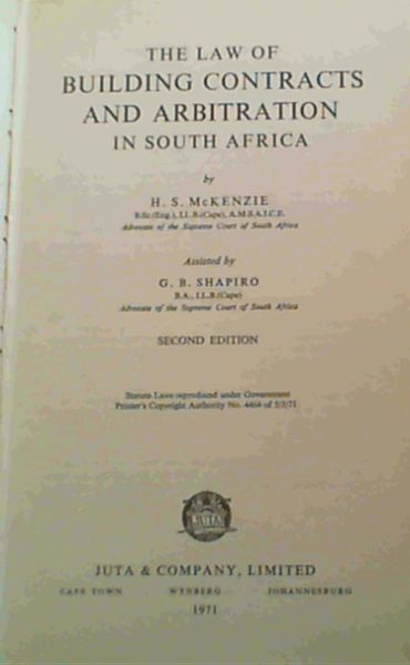 Image for The Law of Building Contracts and Arbitration in South Africa. 2nd Edition