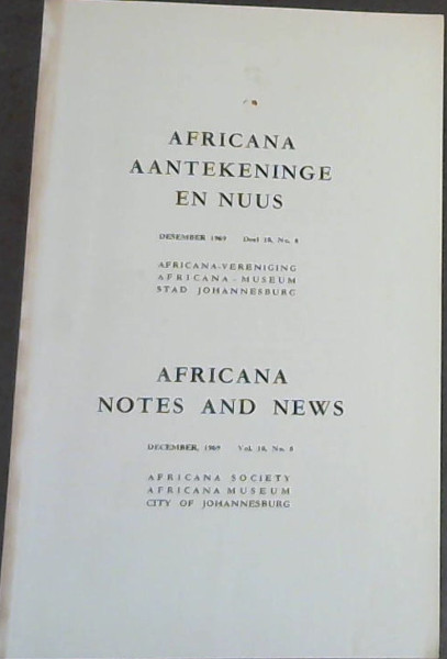 Image for Africana Aantekeninge en Nuus - Desember 1969 - Deel 18, No 8 / Africana Notes and News - December, 1969 - Vol 18, No 8
