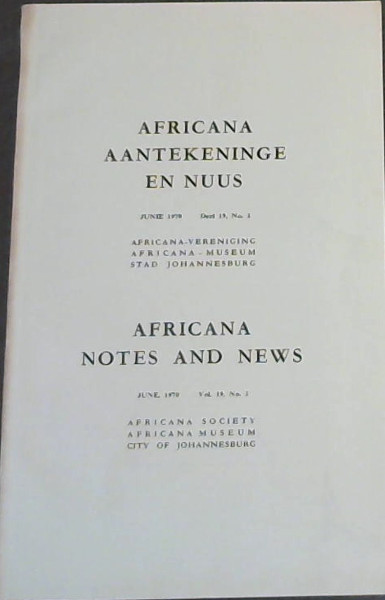 Image for Africana Aantekeninge en Nuus - Junie 1970 - Del 19, No 2 / Africana Notes and News - June, 1970 - Vol 19, No 2