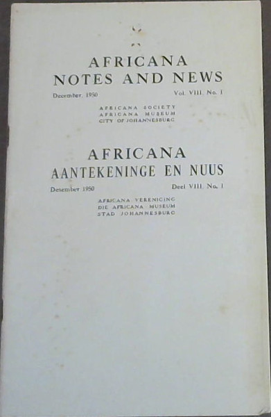 Image for Africana Notes and News - December, 1950 - Vol VIII, No 1 / Africana Aantekeninge en Nuus - Desember 1950 - Deel VIII, No 1
