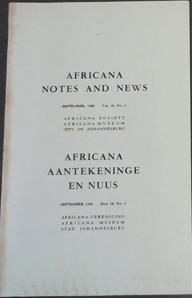 Image for Africana Notes and News: September, 1968 - Vol 18 No 3 / Africana Aantekeninge en Nuus : September 1968 - Deel 18, Nr 3