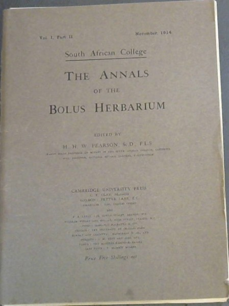 Image for The Annals of the Bolus Herbarium - Vol I - Part II (November, 1914)