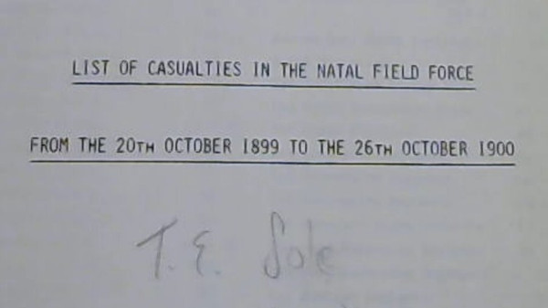 Image for List of Casualties in the Natal Field Force From the 20th October 1899 to the 26th October 1900