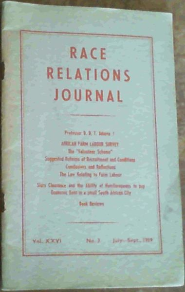 Image for Race Relations Journal Vol. XXVI No.3 July-September 1959