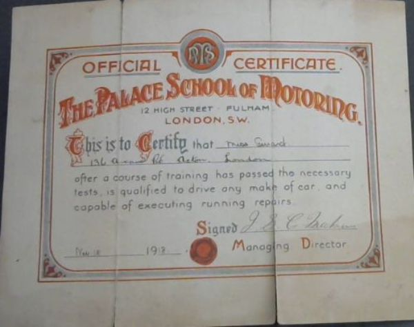 Image for Vintage Driving Certificate 1918