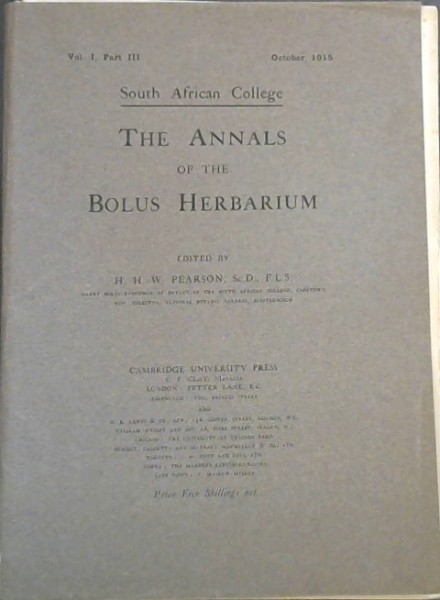 Image for The Annals of the Bolus Herbarium - Vol I - Part III (October, 1915)