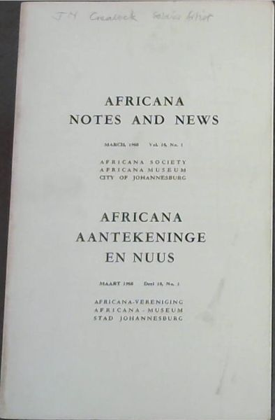 Image for Africana Notes and News / Africana Aantekeninge En Nuus : March 1968. Vol. 18, No. 1 Only