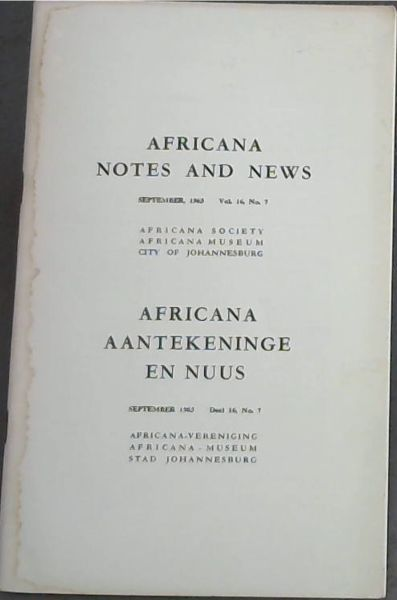 Image for Africana Notes and News / Africana Aantekeninge en Nuus : September 1965. Vol. 16, No. 7 Only
