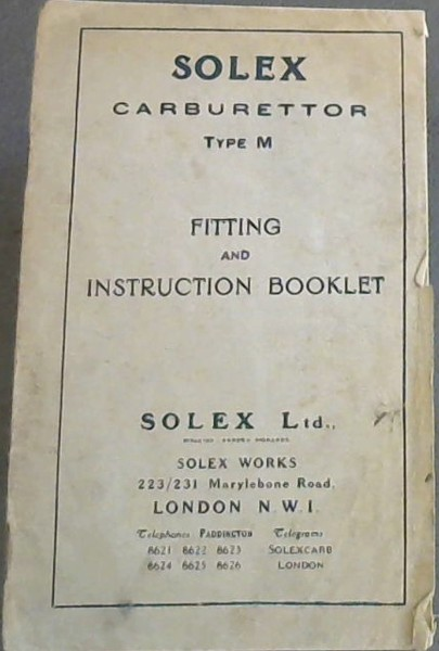 Image for Solex Carburettor Type M - Fitting and Instruction Booklet