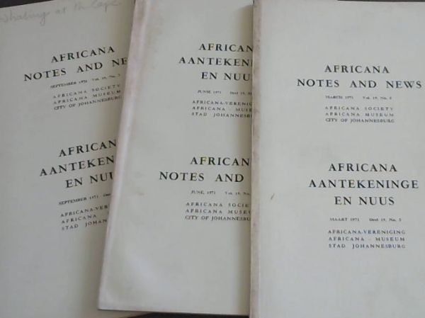Image for Africana Notes and News / Africana Aantekeninge en Nuus ; March 1971. Vol. 19 No. 5,6 & 7. March, June & September 1971