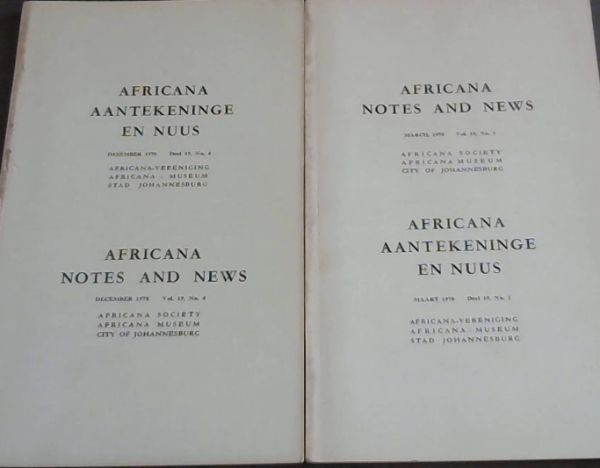 Image for Africana Notes and News / Africana Aantekeninge En Nuus : March 1970, Volume 19, No. 1 & No. 4 Only