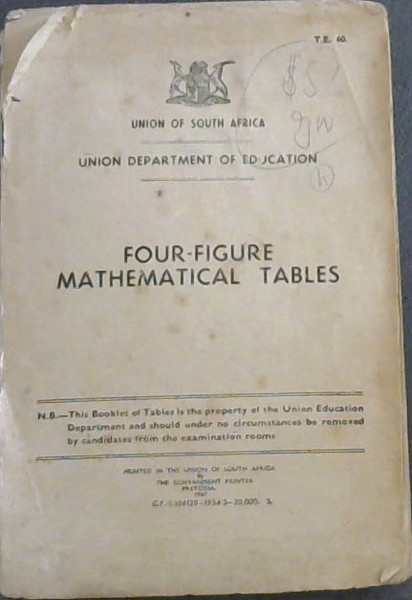 Image for Four-Figure Mathematical Tables