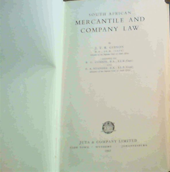 Image for South African Mercantile and Company Law