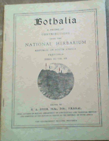 Image for Bothalia : A Record of Contributions from the National Herbarium Union of South Africa, Index to Volume 7