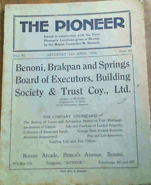 Image for The Pioneer : Saturday, 14th April 1934